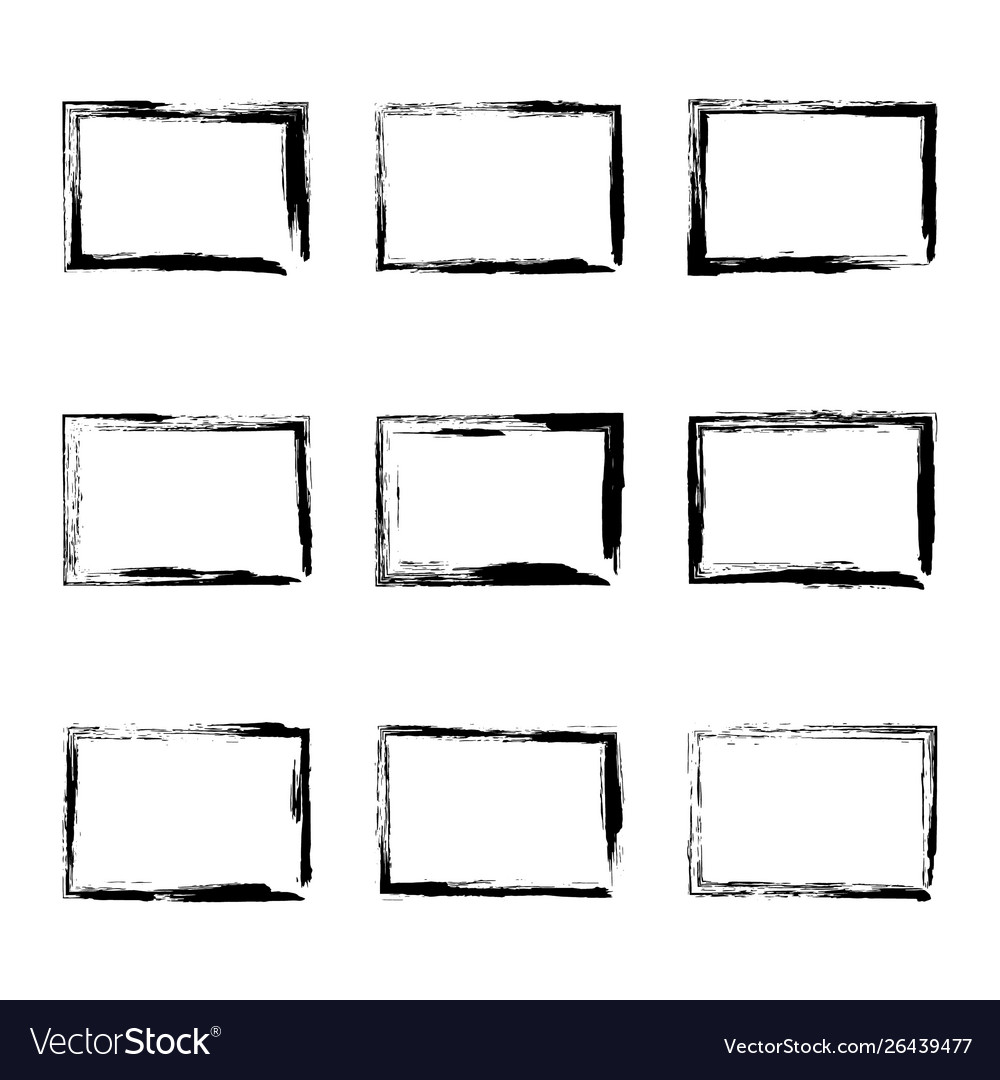 Set hand drawn rectangle frame