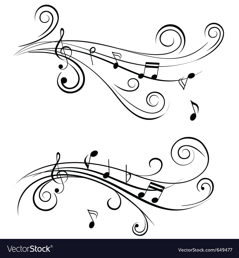 Sound wave sheet music notes