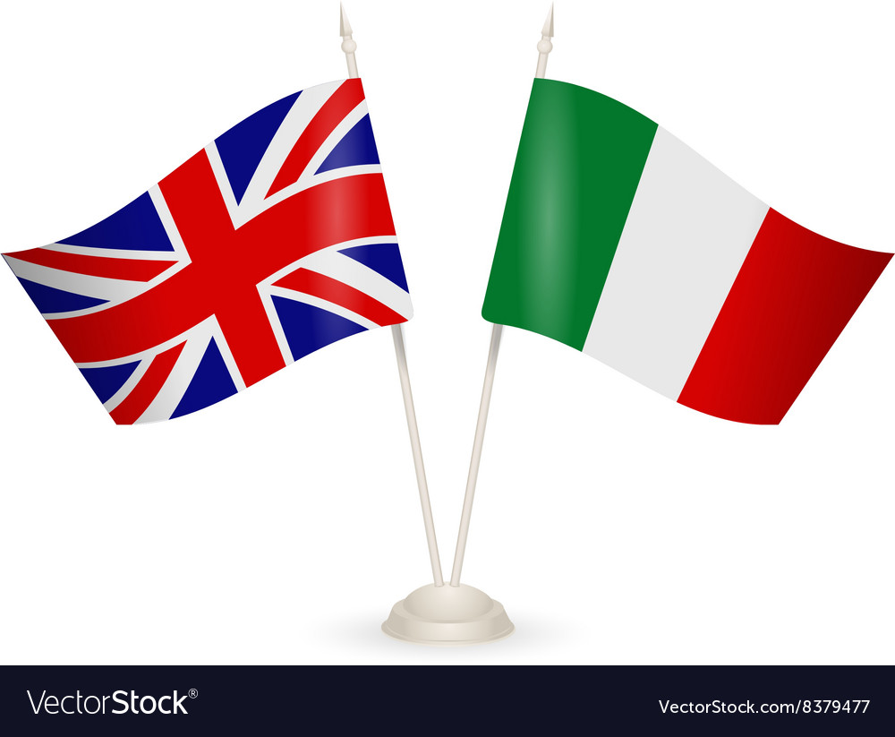 Table stand with flags of England and Italy