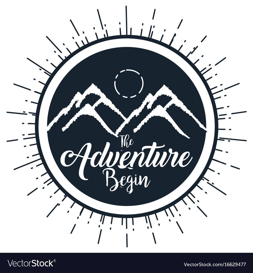 Vintage adventure label design outdoor activity