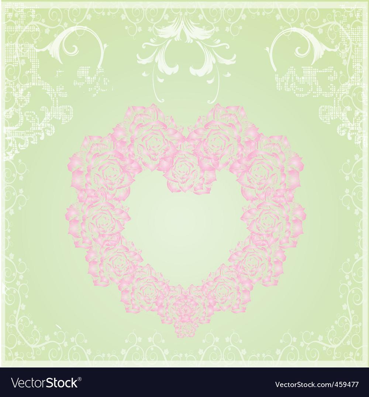 Vintage floral heart frame