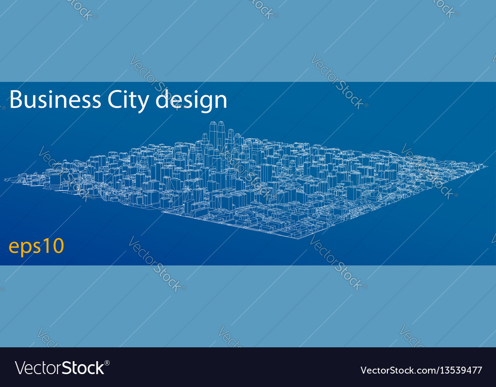 Wire-frame city blueprint style