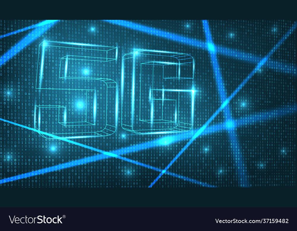 5g network digital hologram on zero-ones back