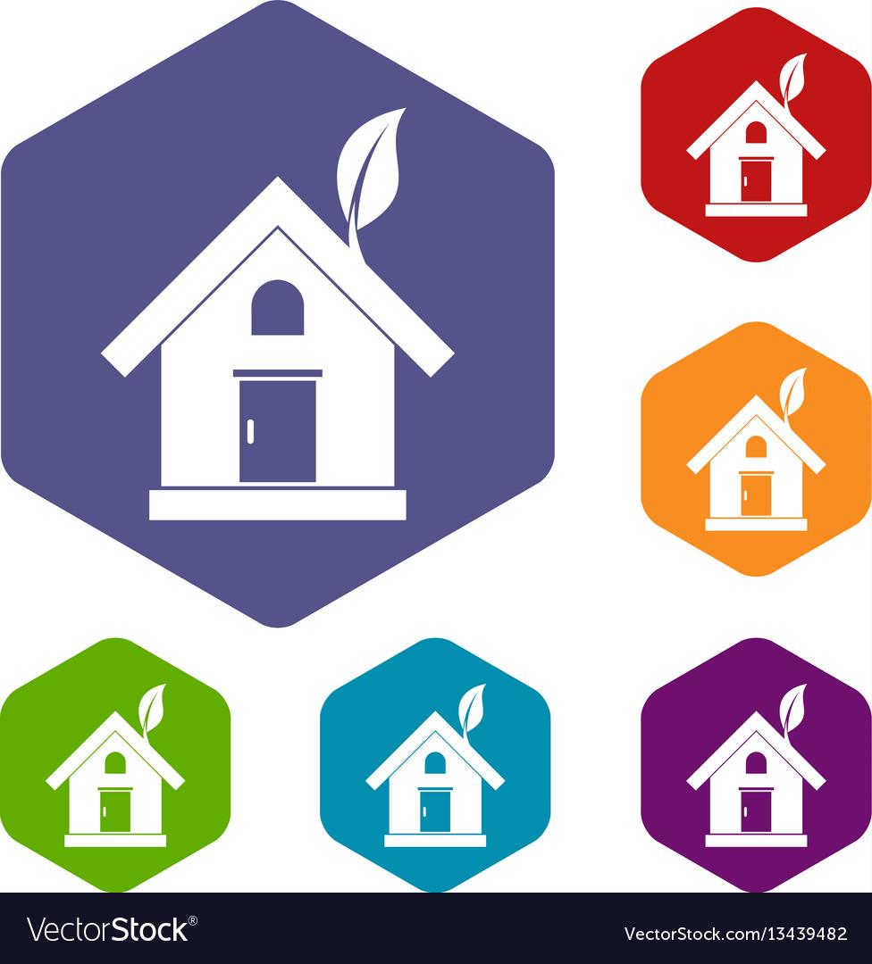 Eco house concept icons set