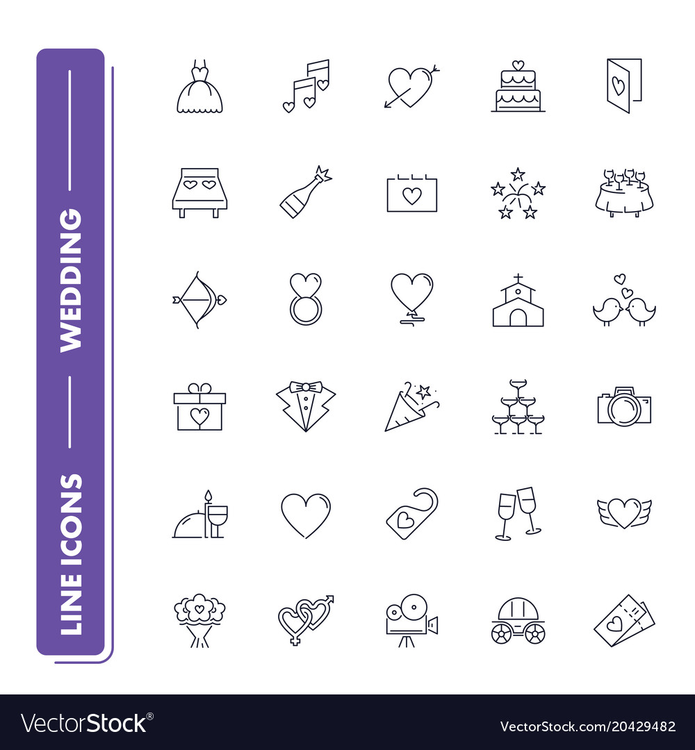Line icons set wedding vector image
