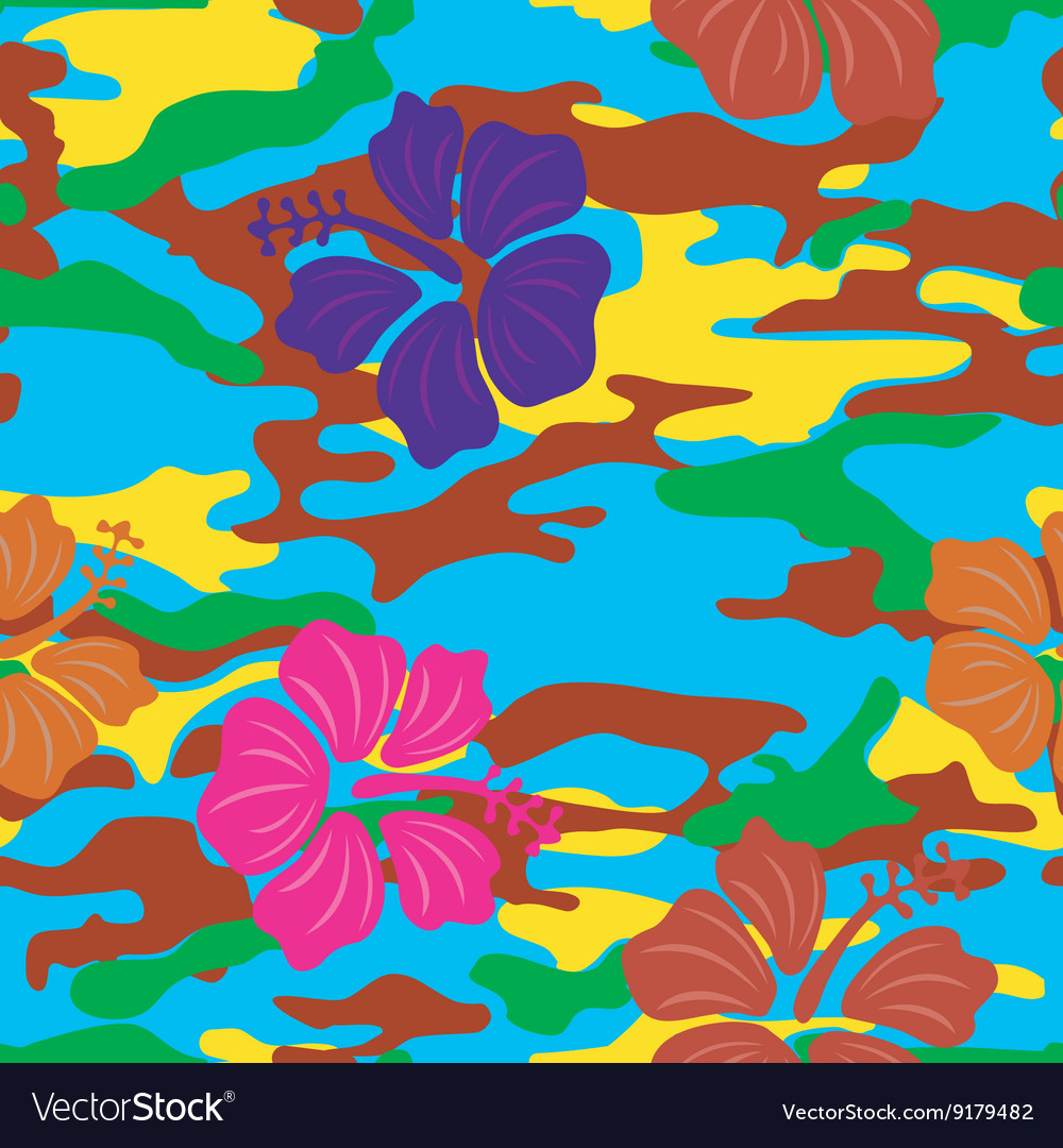 Multicolored hibiscus on the military background