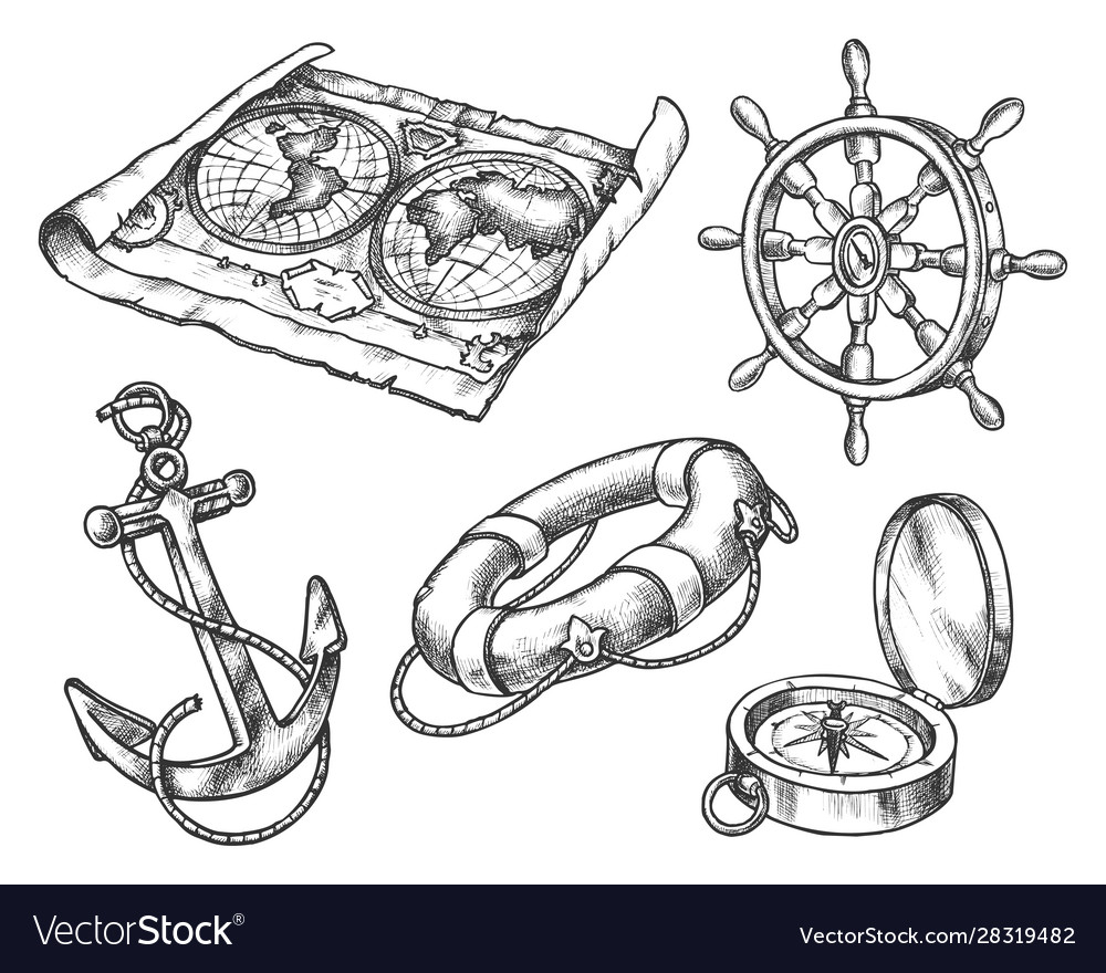 Set isolated sketch seaship boat equipment