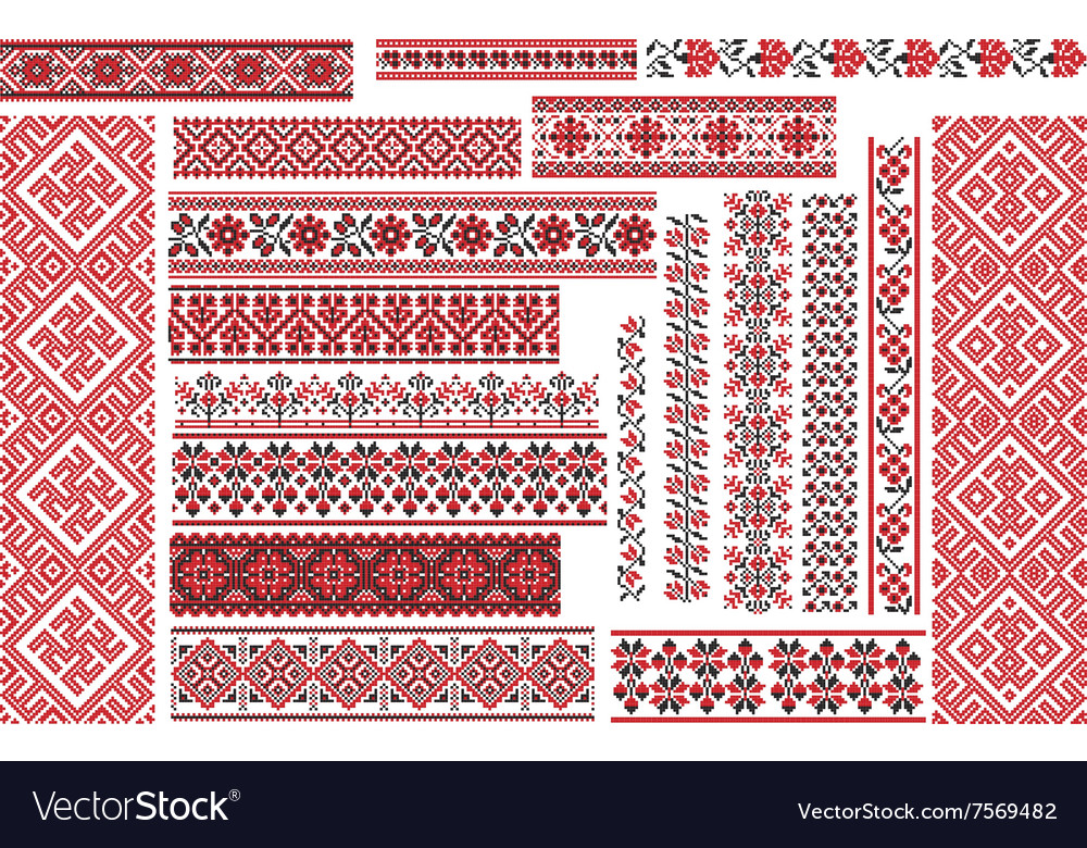 Set of Ethnic Patterns for Embroidery Stitch vector image
