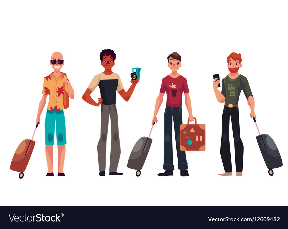 Set of young handsome male travelers with luggage