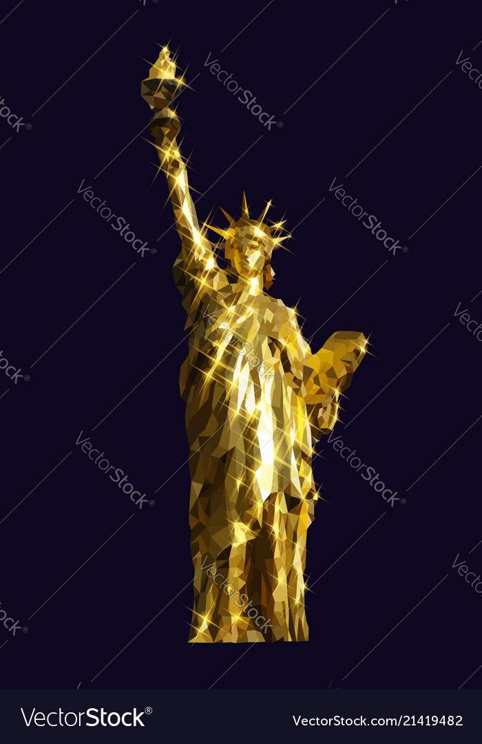 Statue of liberty golden design low poly