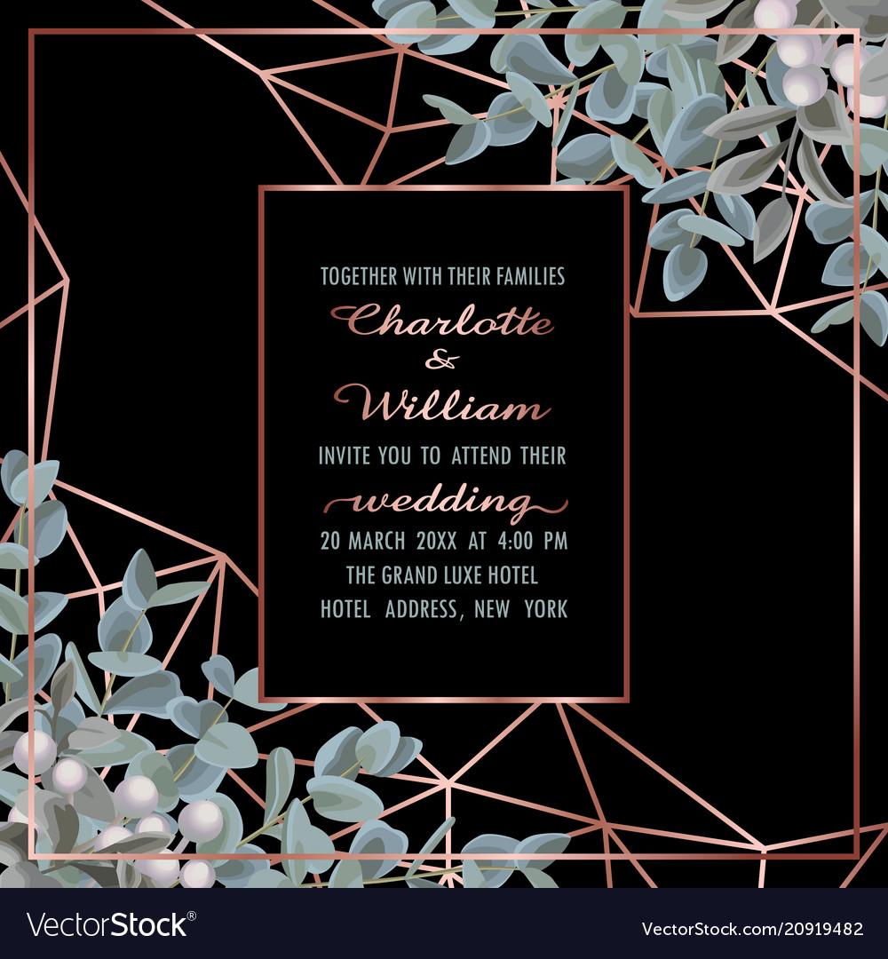 Wedding invitation with eucalyptus