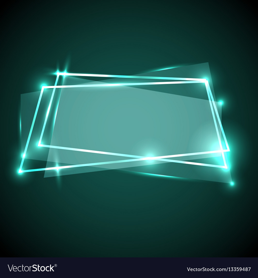 Abstract background with green neon banner vector image