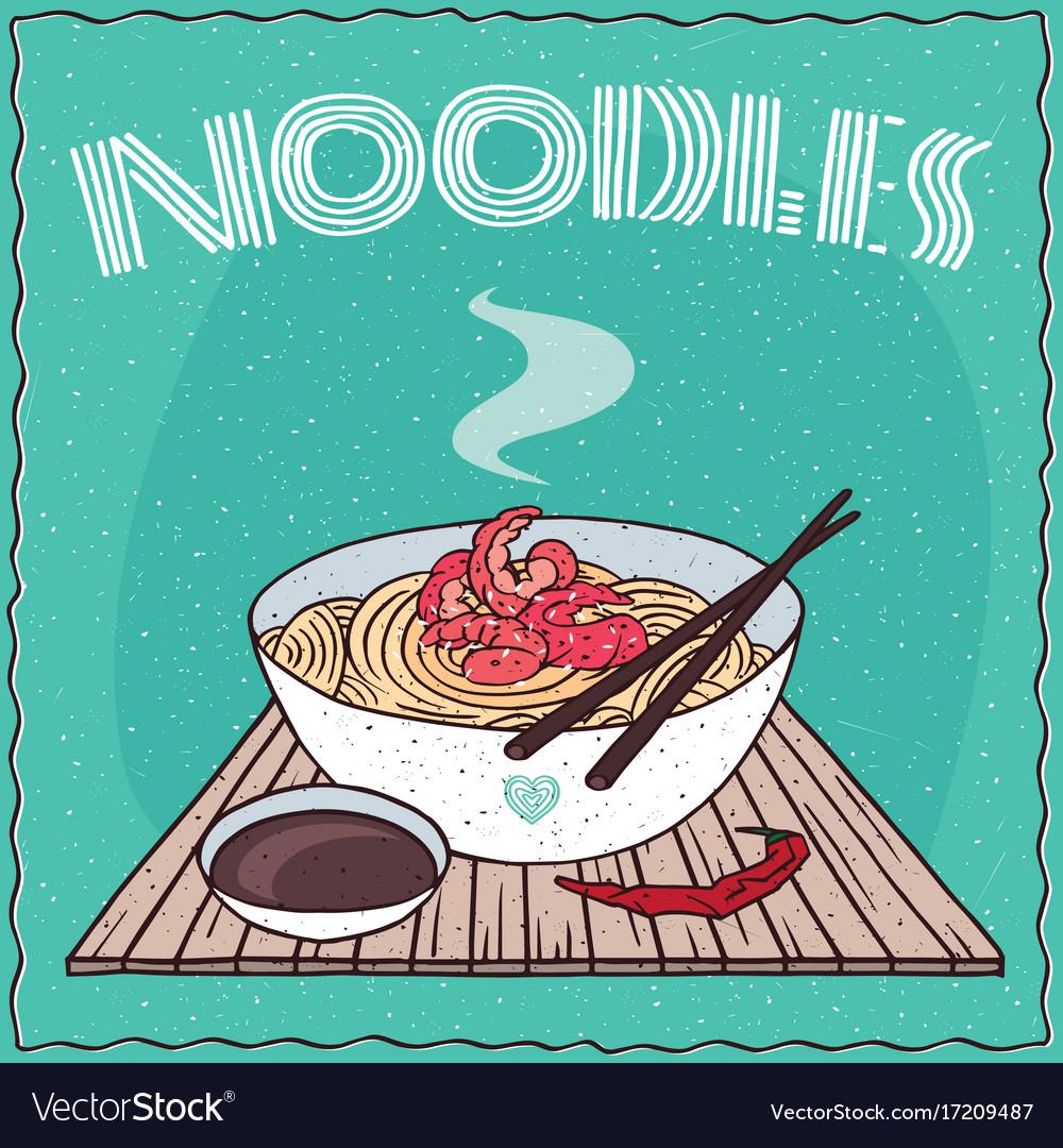 Asian noodles ramen or udon with shrimp