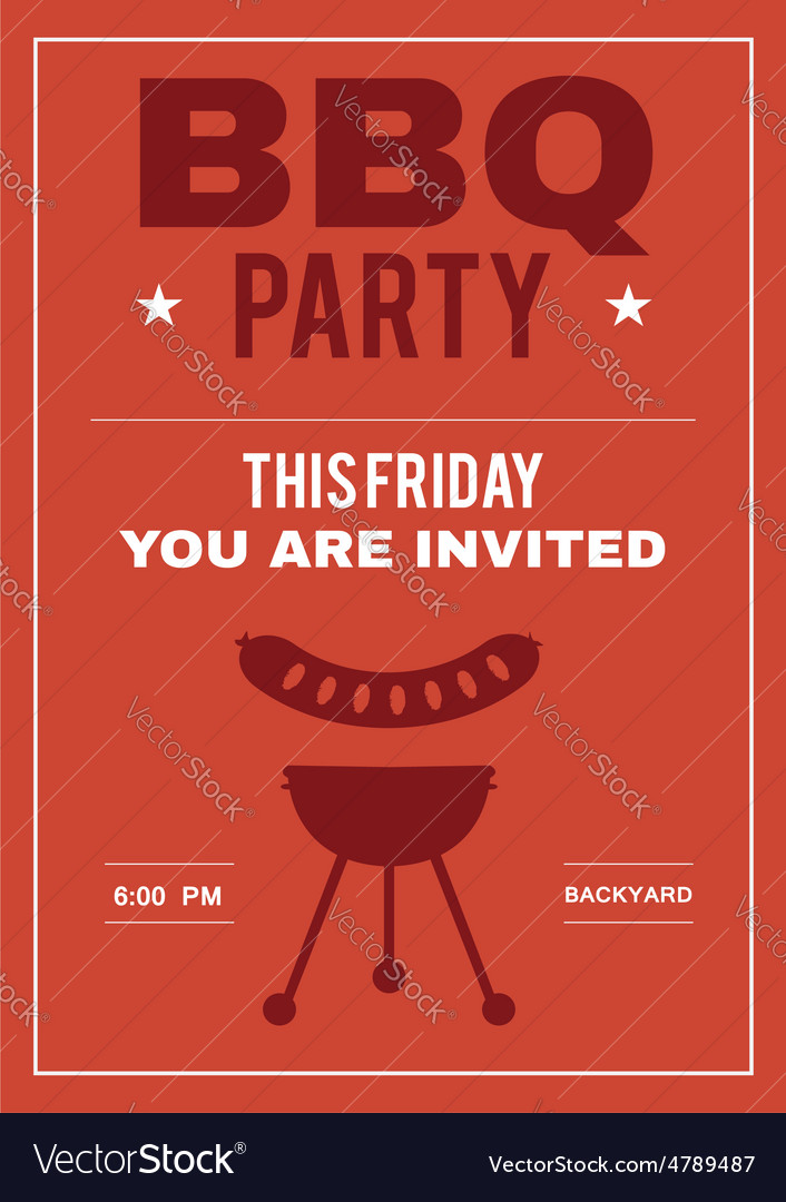 Bbq party invite poster of invitation card with vector image stopboris Gallery
