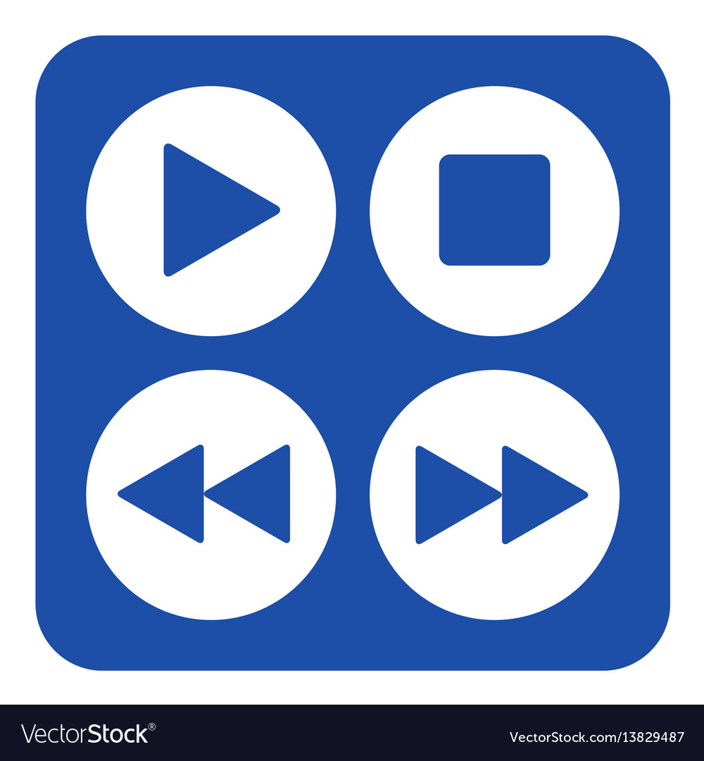 Blue white sign - four music control buttons icon