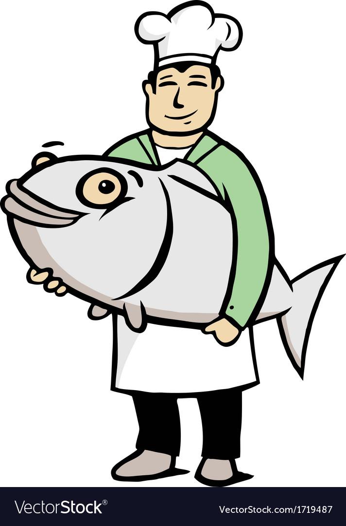 Chef holding a big fish