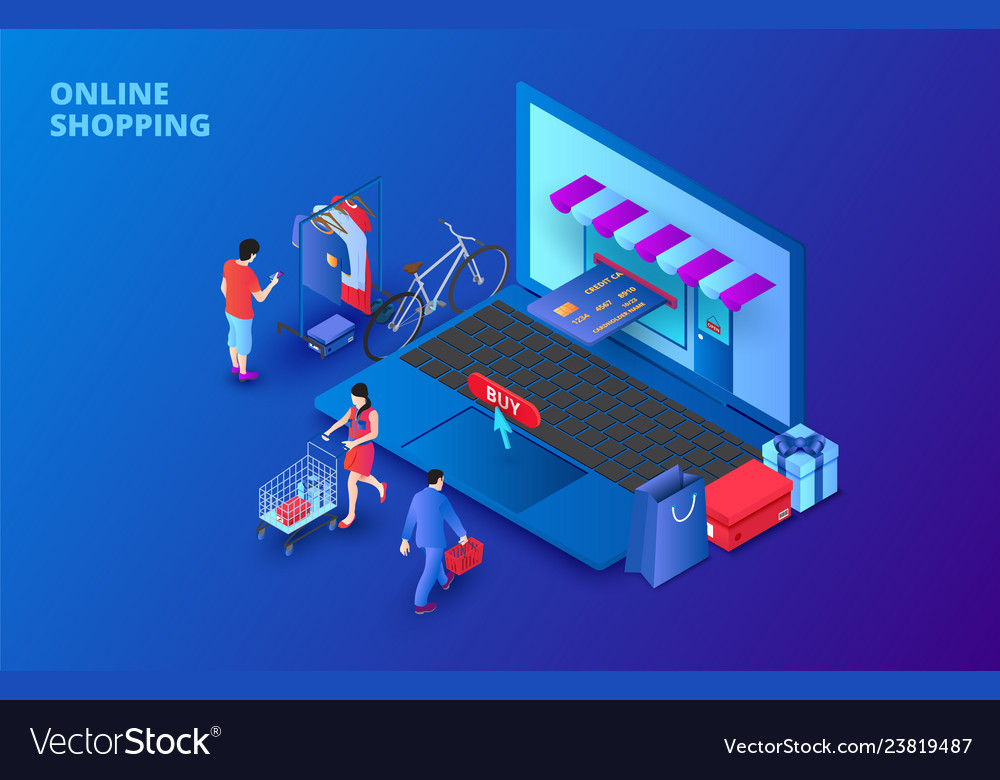 Dark isometric online shopping concept with laptop