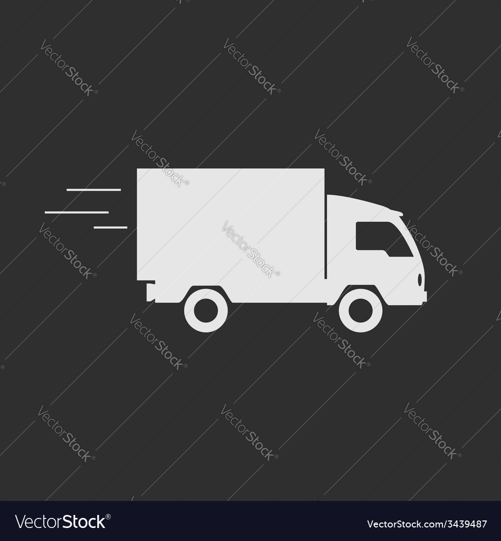 Delivery truck contour flat icon