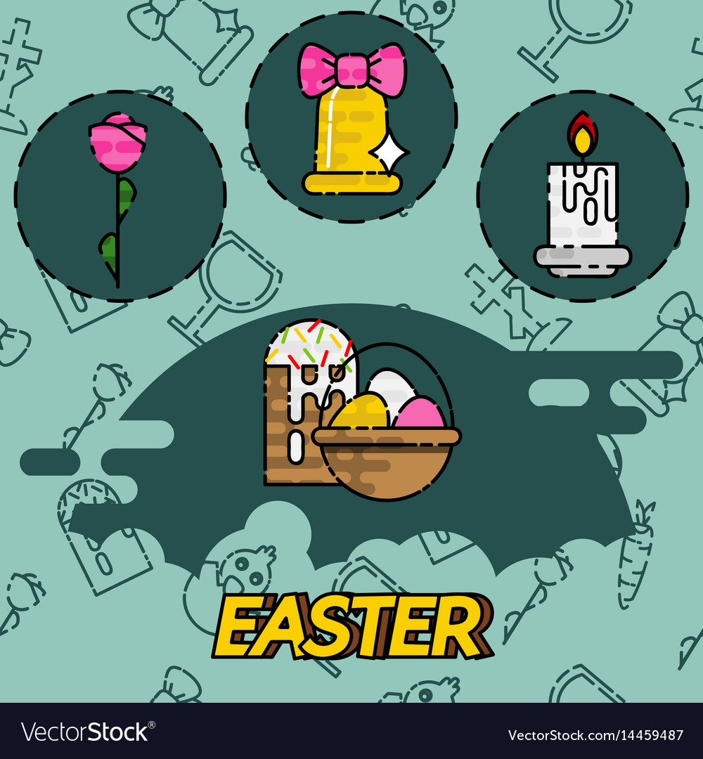 Easter flat concept icons