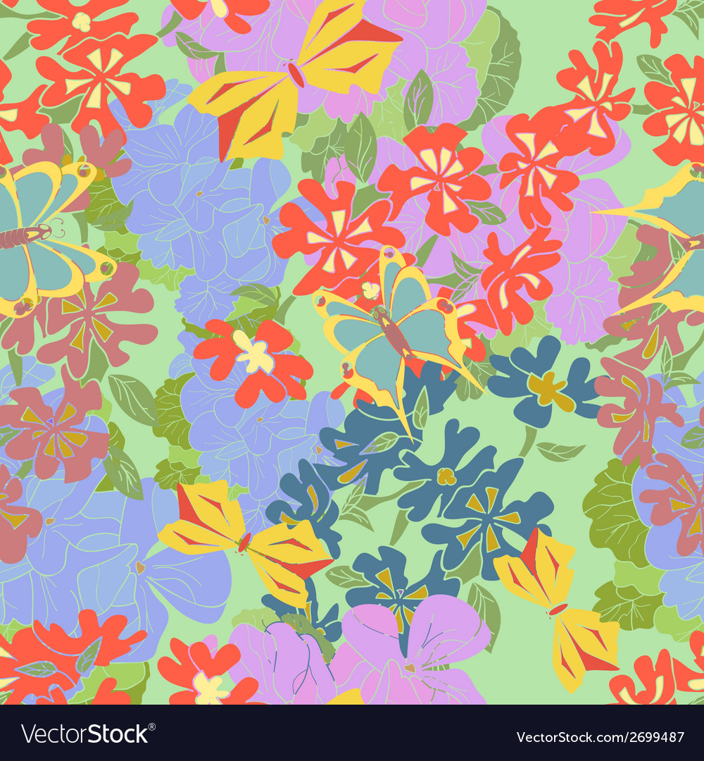 Flowers butterflies Seamless vector image