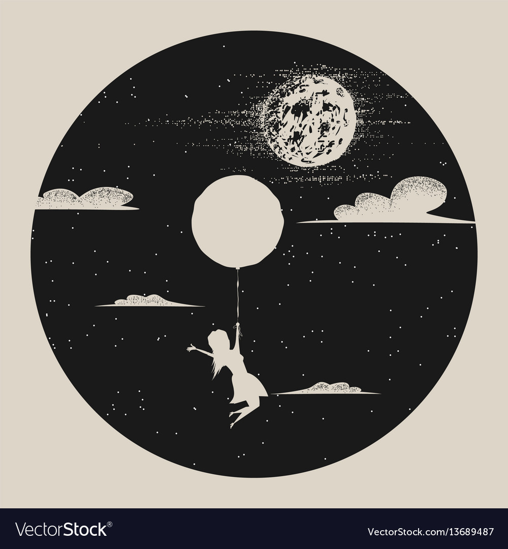 Girl with balloon fly to moon vector image
