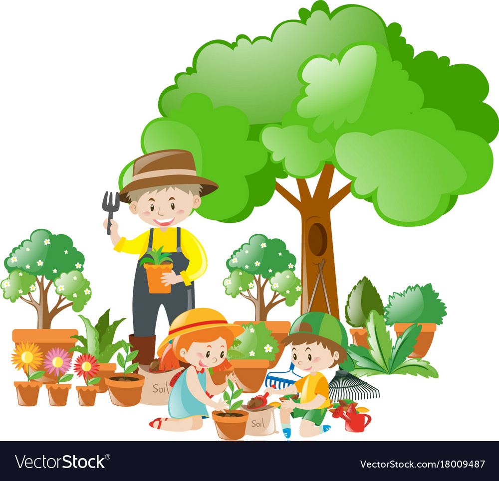 man and kids planting trees royalty free vector image free clip art apple picking photos free clipart apple icon