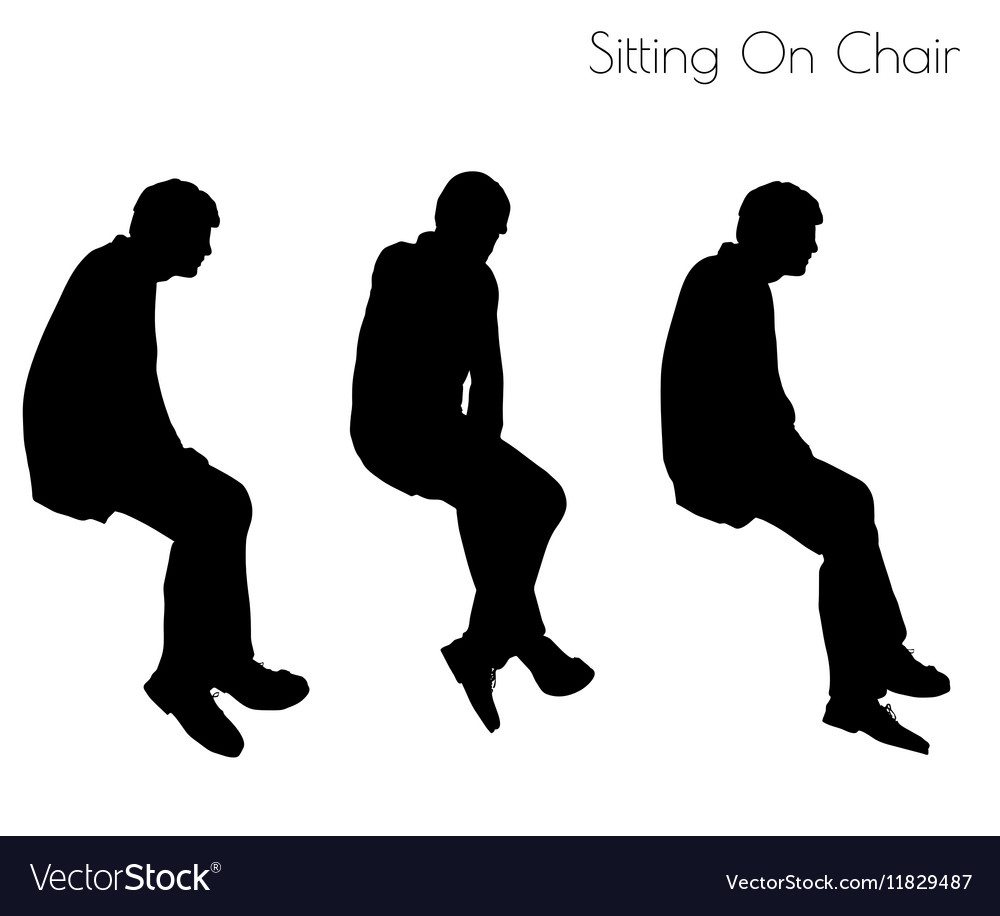 Man In Sitting Pose On Chair Pose Royalty Free Vector Image