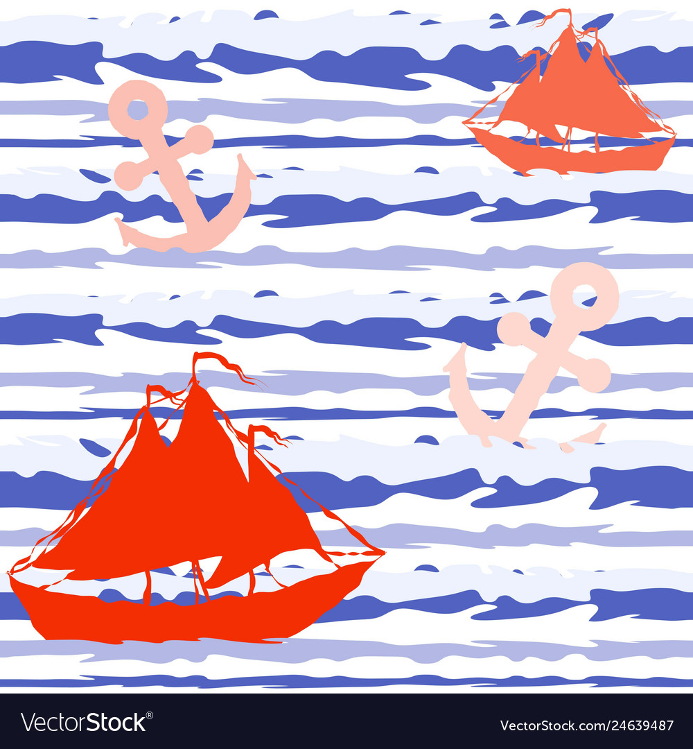Marine striped seamless pattern with ships and