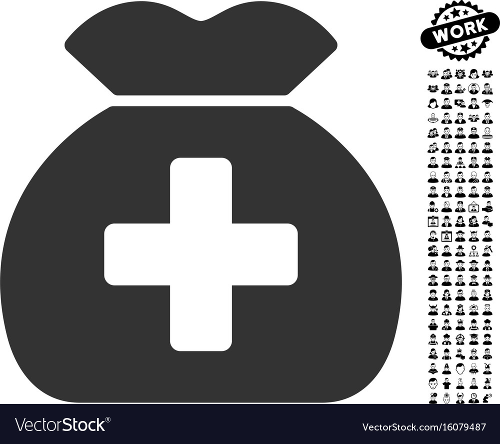 Medical fund sack icon with professional bonus vector image