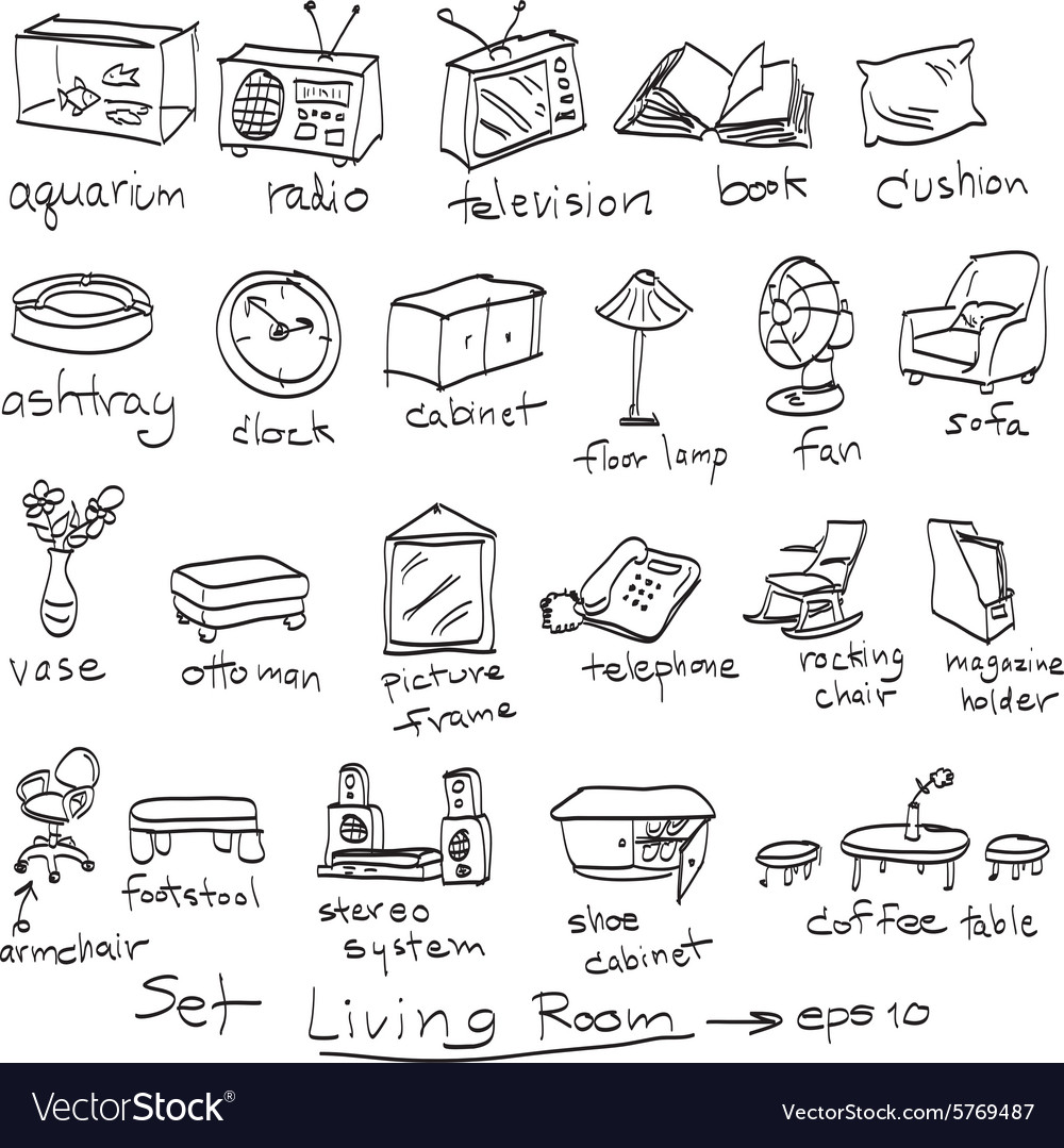 Objects in living room doodles Royalty Free Vector Image