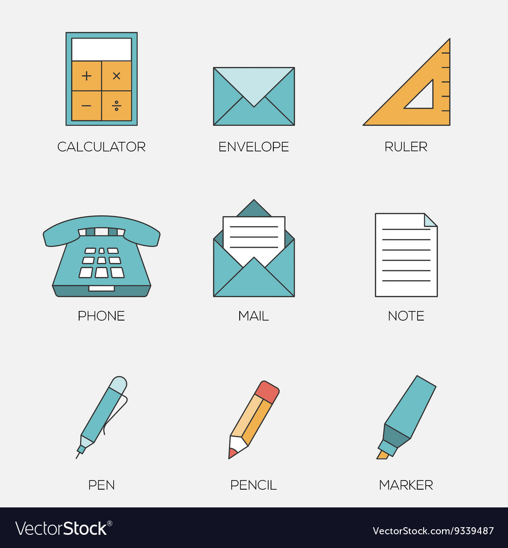 Office tools color line icons vol 2