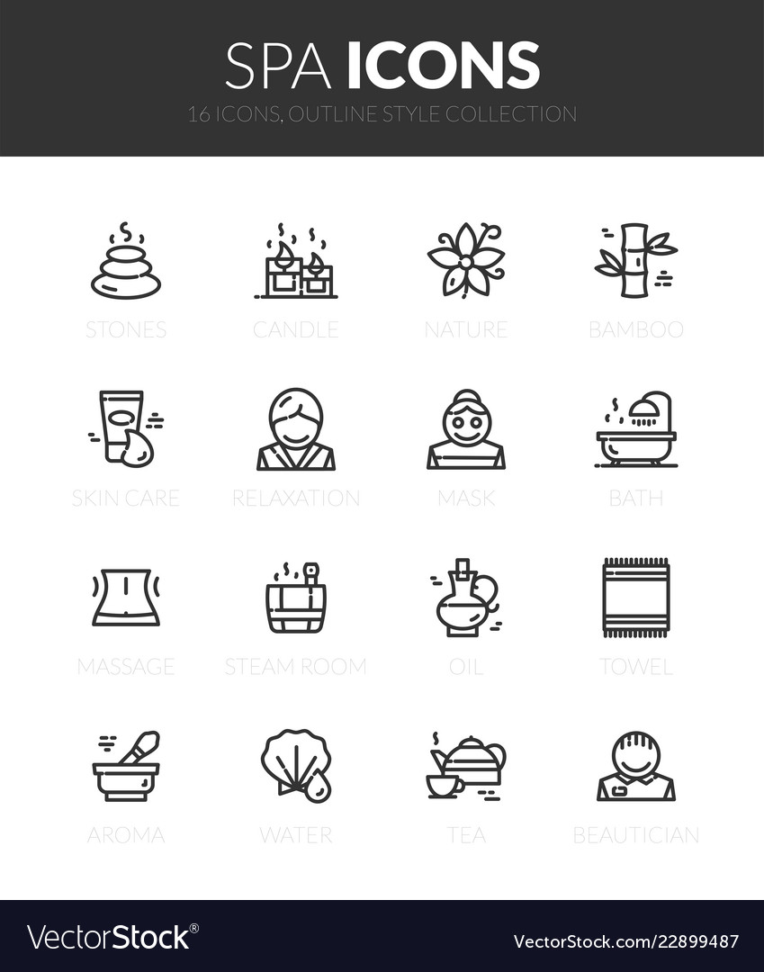 Outline black icons set in thin modern style