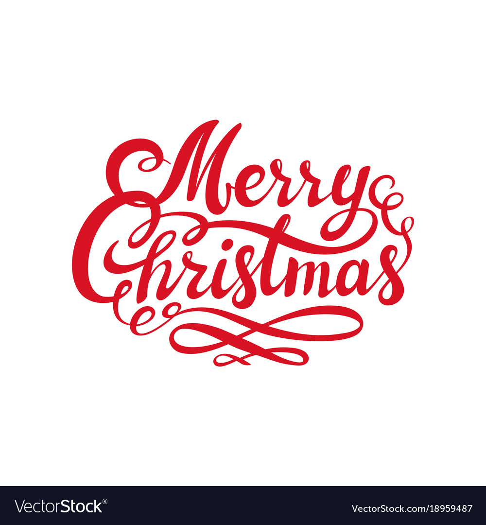 Christmas Lettering.Red Merry Christmas Text Calligraphic Lettering