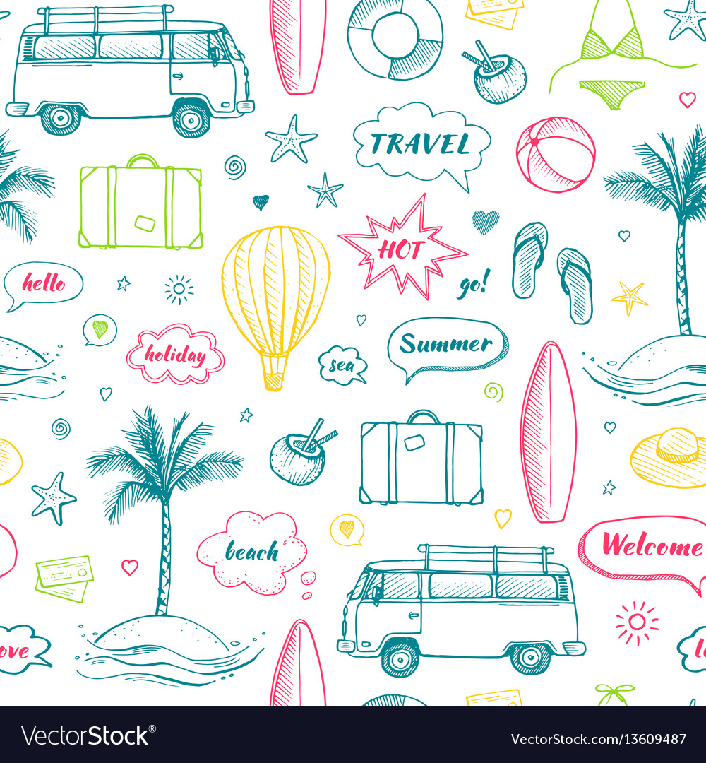 Seamless pattern of hand drawn travel doodle
