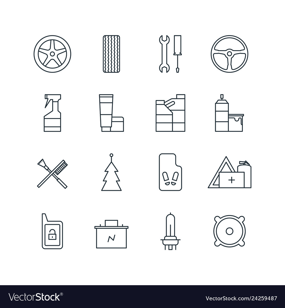 Set of car accessories line icons