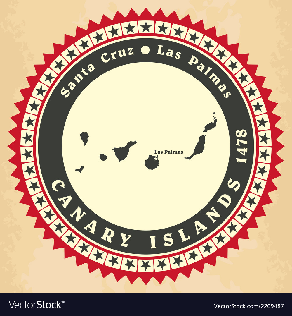 Vintage label-sticker cards of Canary Islands vector image