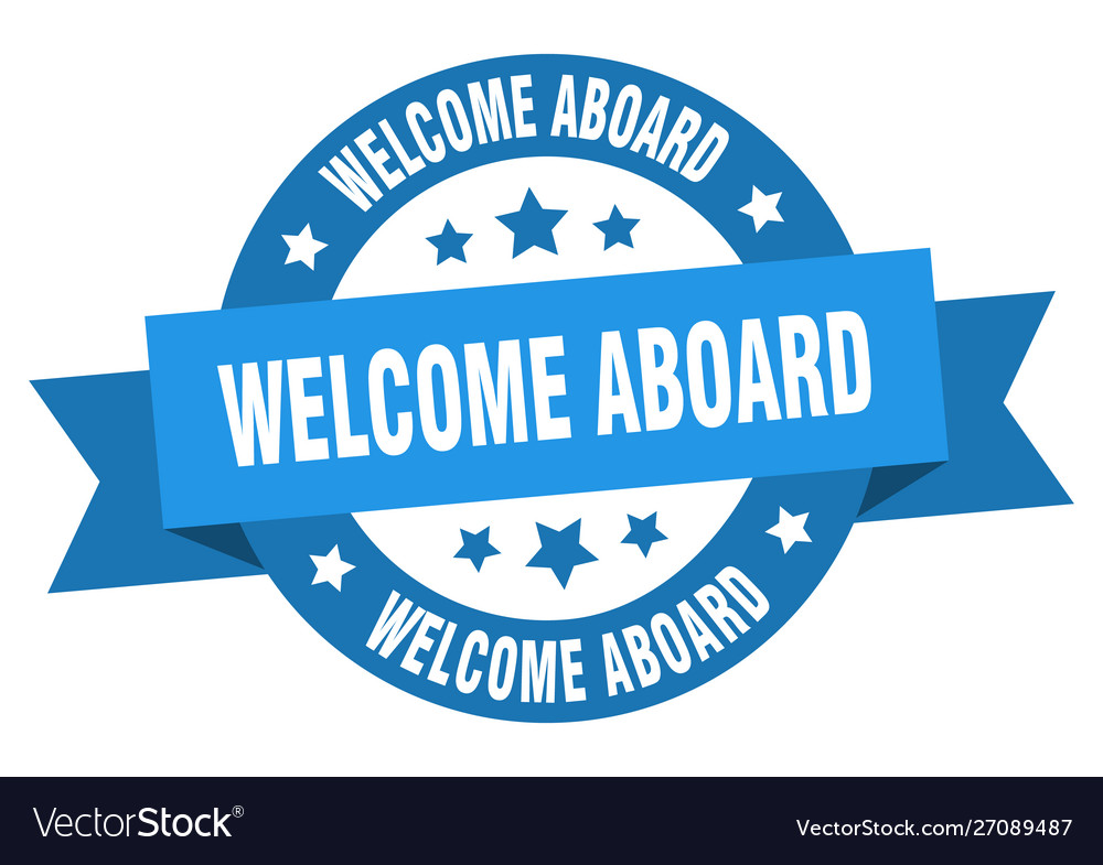 Welcome aboard ribbon welcome aboard round blue