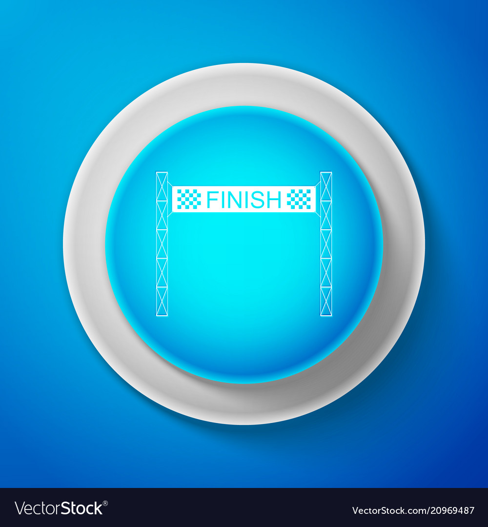 White ribbon in finishing line icon isolated