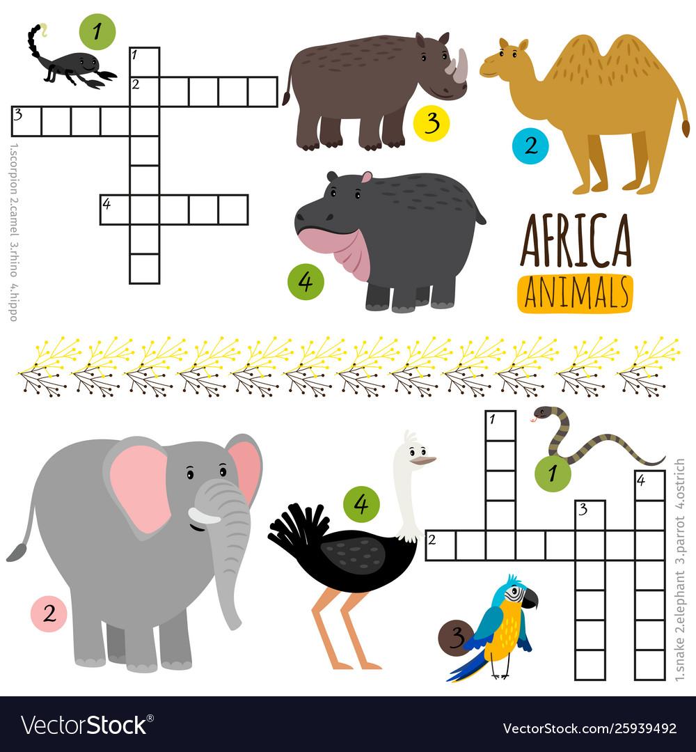 African animals mini crosswords