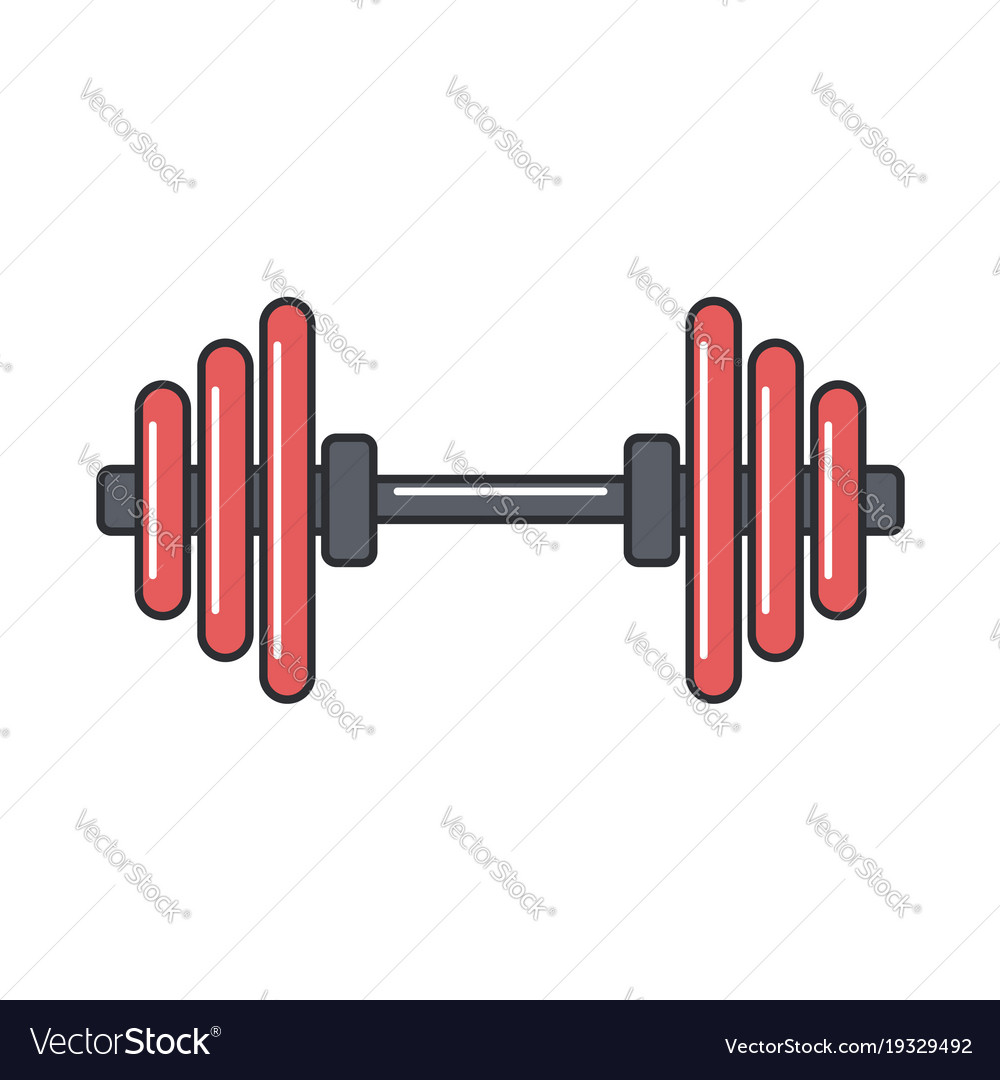Barbell flat line icon vector image