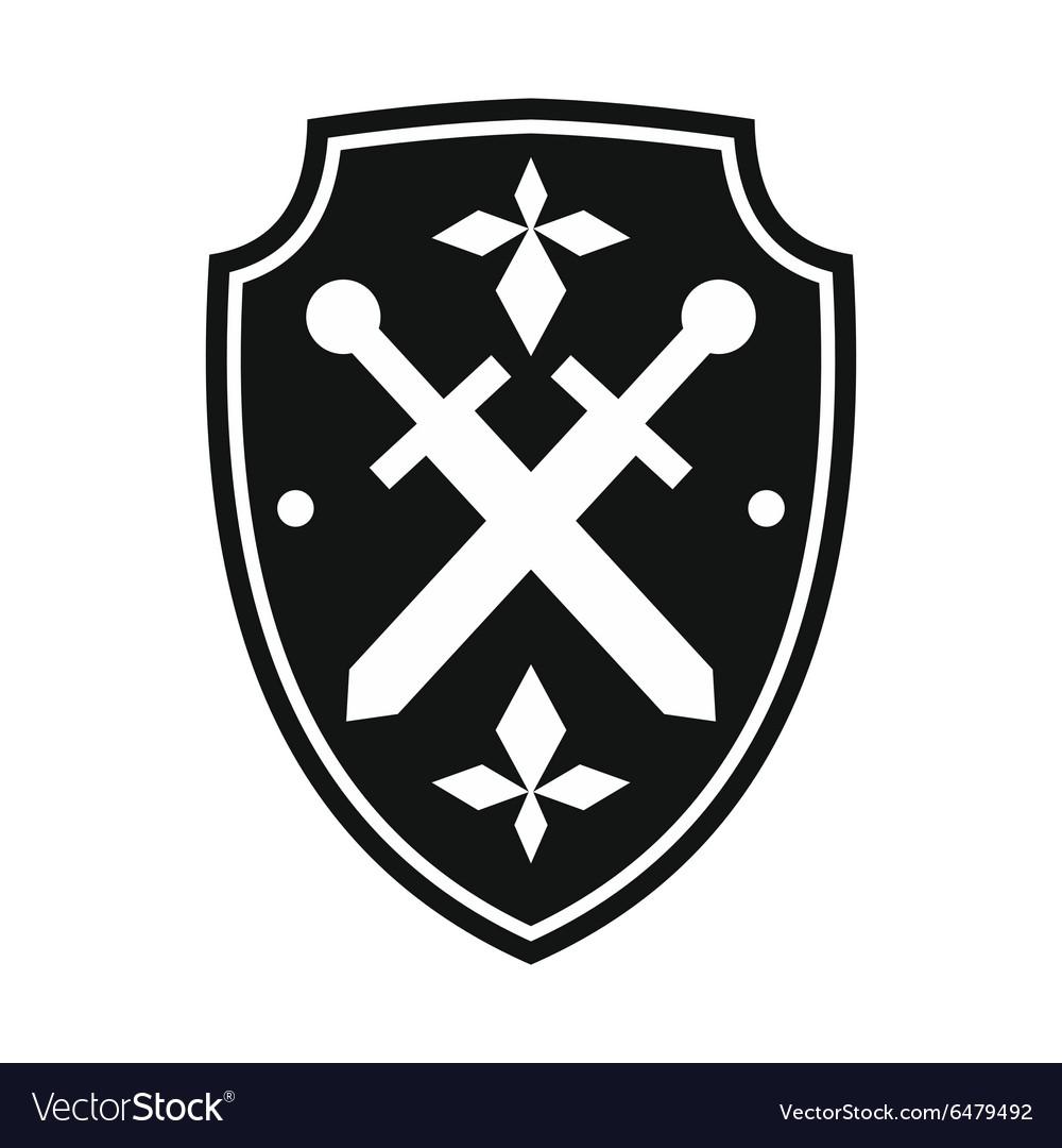 Black shield simple icon vector image