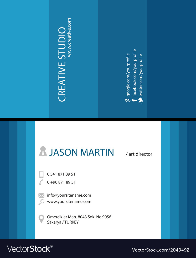 blue creative business card royalty free vector image
