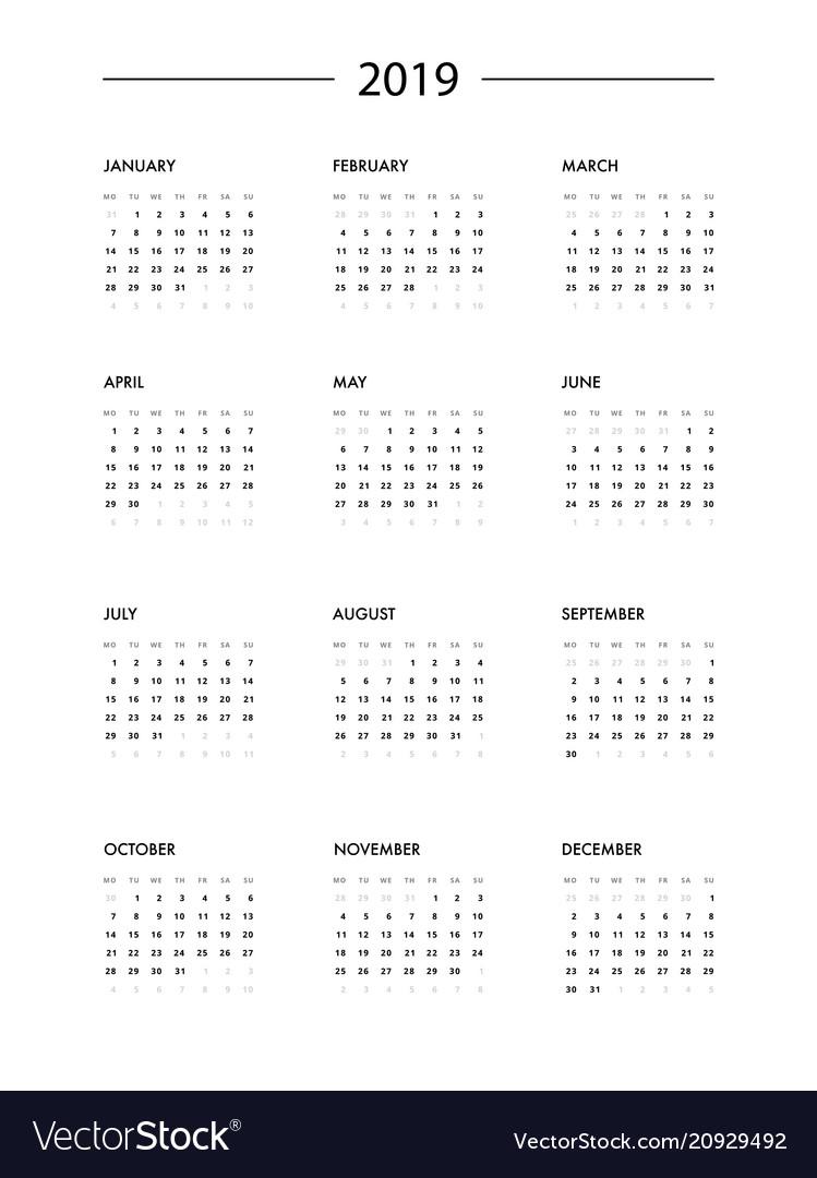 Calendar wall 2019 template