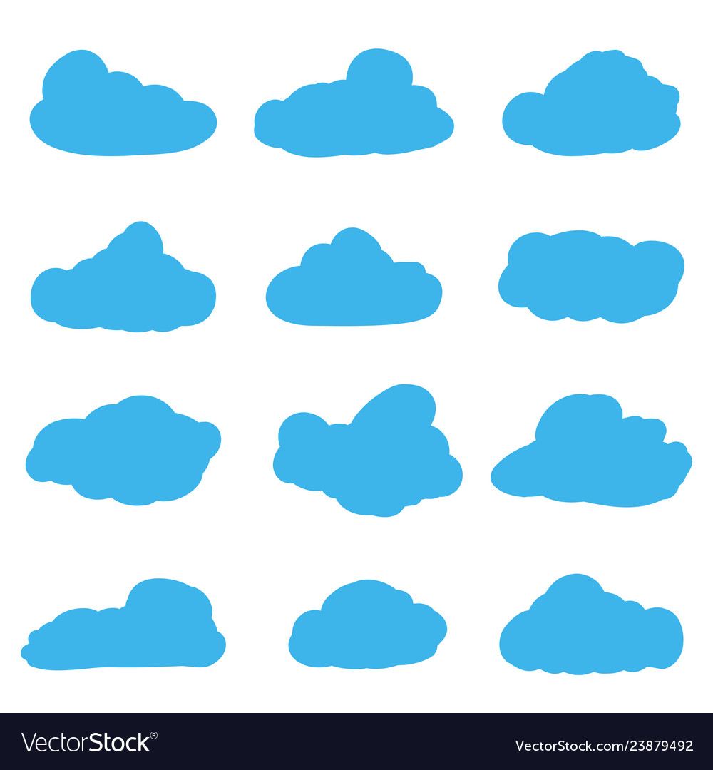 Cartoon clouds on white background