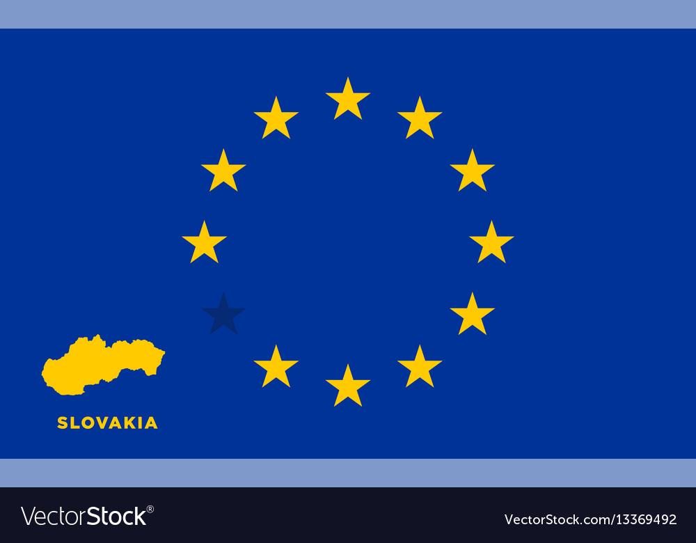 cd39a61323 Eu flag with slovakia country european union Vector Image