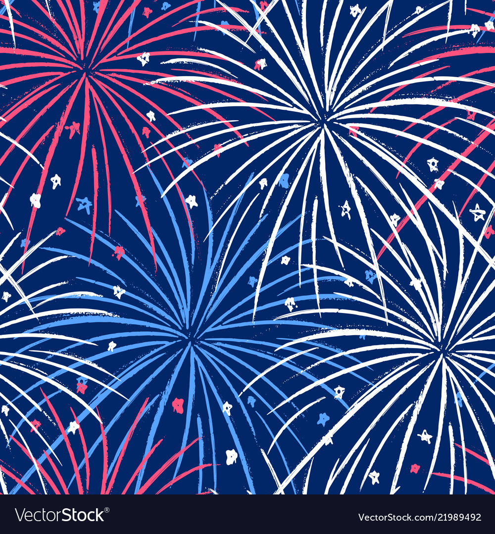 Ink hand drawn seamless pattern with fireworks in