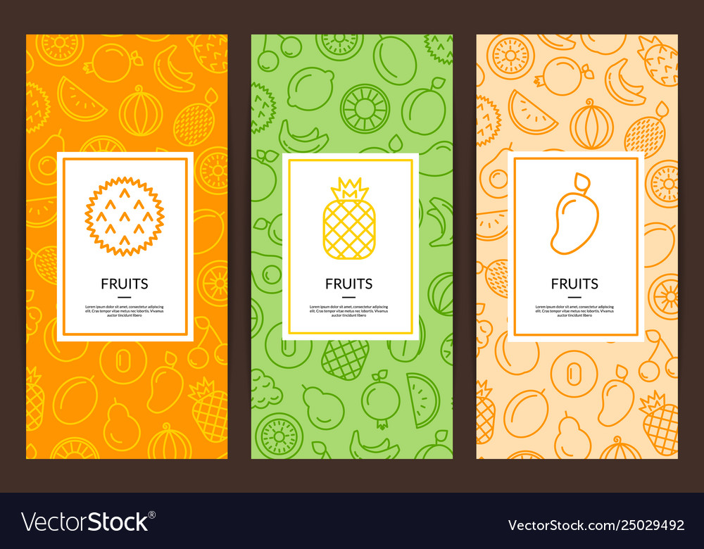Line fruits icons flyer templates