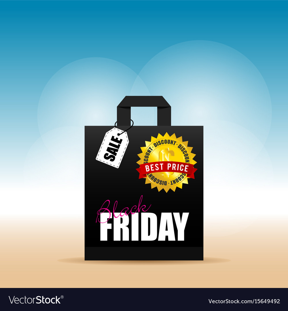 Paper bag with black friday on it vector image