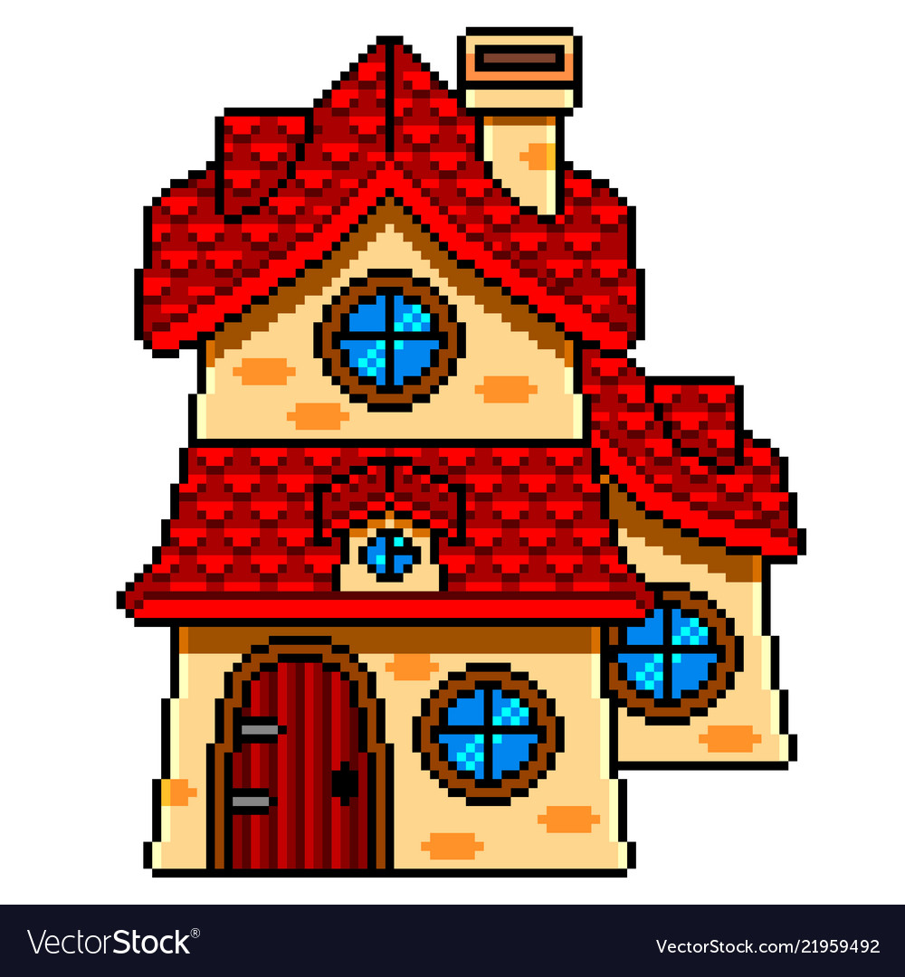 Pixel Art Fairy Tale House Detailed Isolated