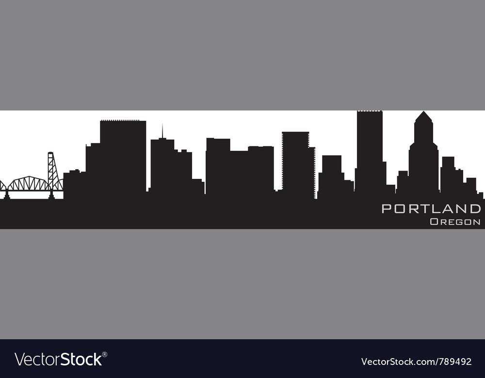 Portland oregon skyline detailed silhouette
